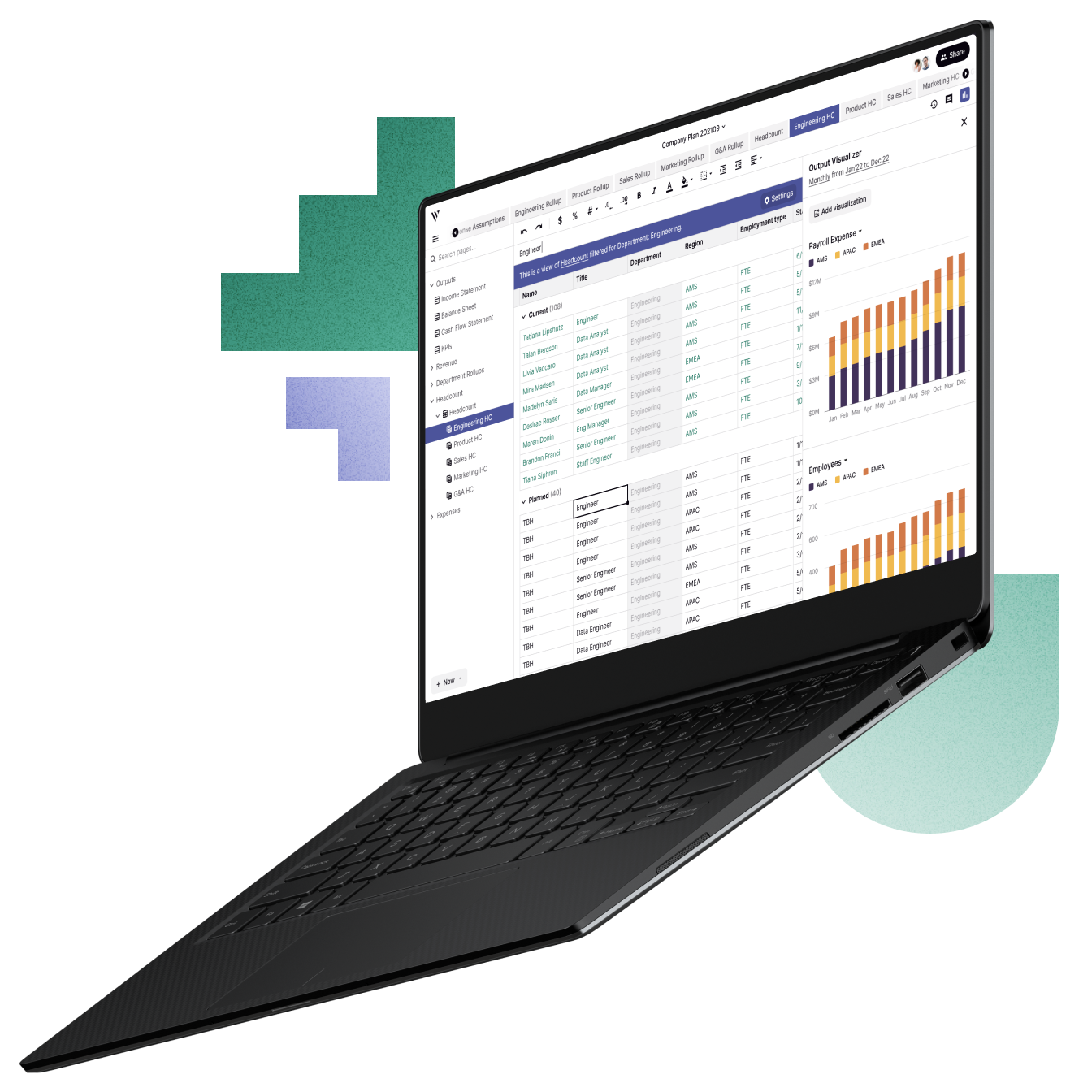 An open laptop with Vareto's planning software on the screen
