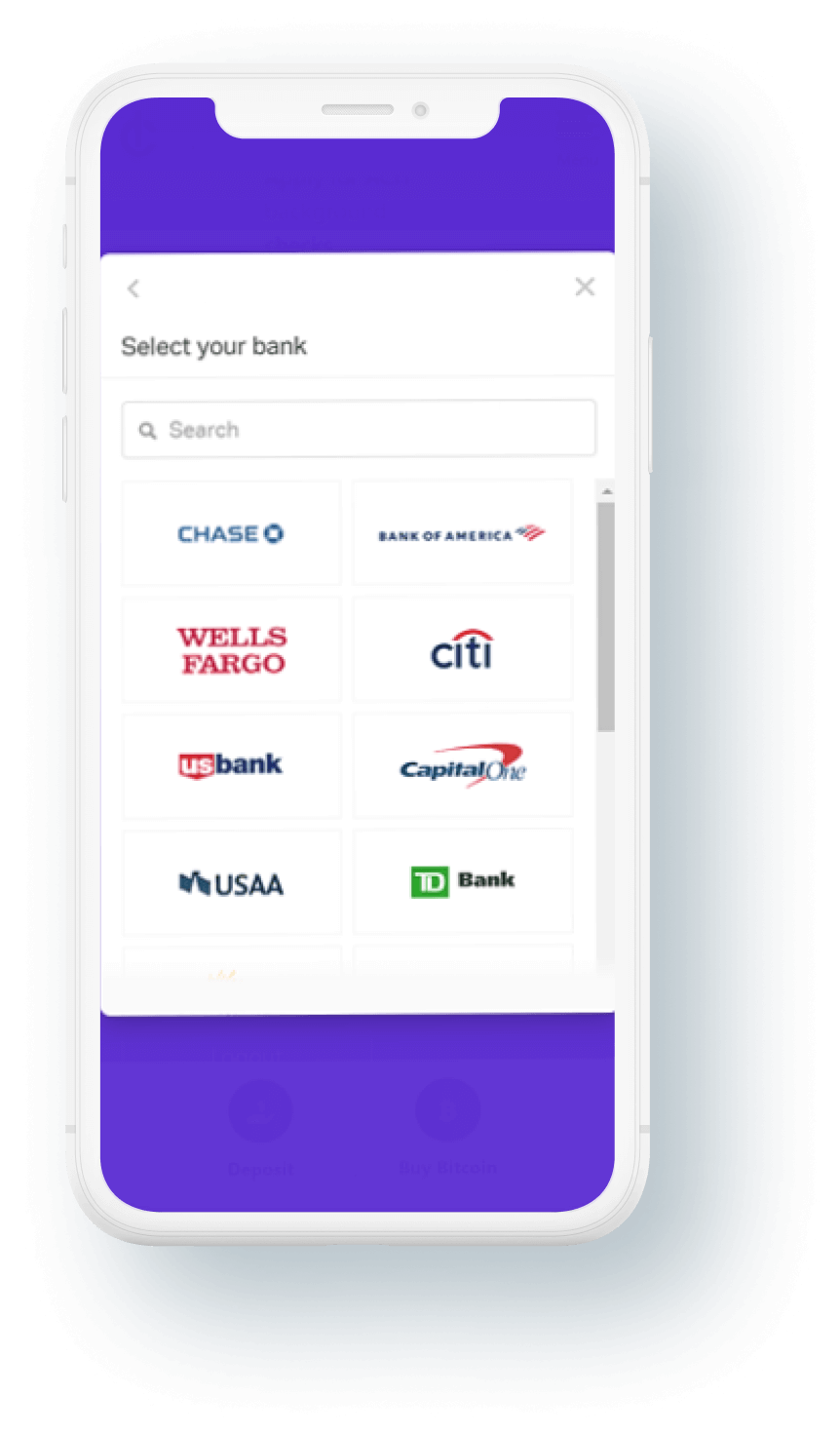 cryptodispensers-mobile-bank-selection