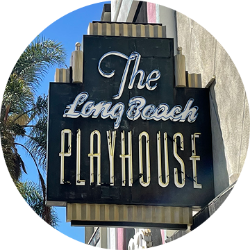 Long Beach Playhouse neon sign on the building.