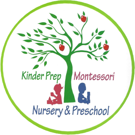 Kinder Prep Montessori Nursery & Preschool logo with a green tree with 3 red apples and two children sitting beside it, one is a girl playing and another is a boy holding a book.