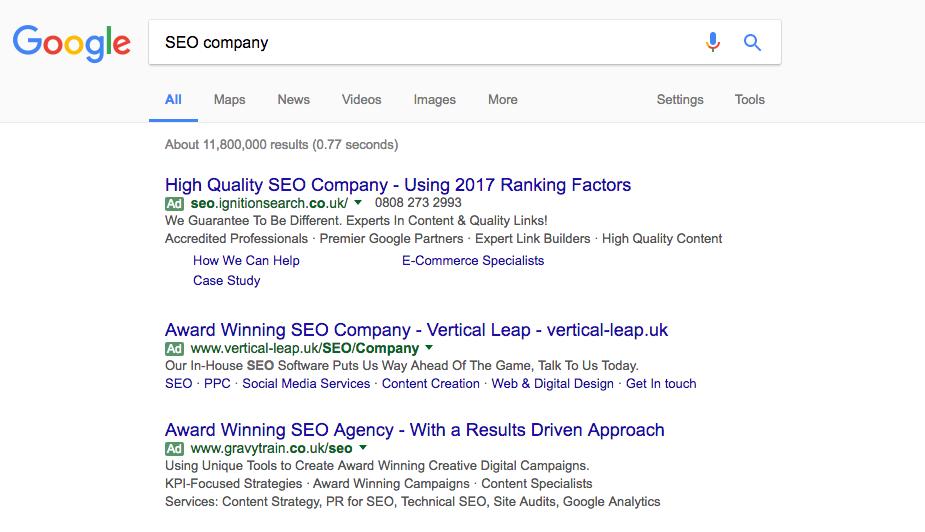 Google Results for SEO Company