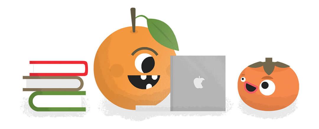 Orange learning about veganism online