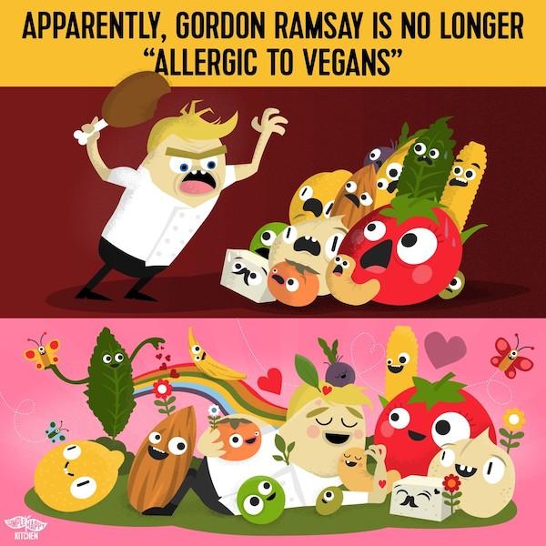 "Apparently Gordon Ramsay is no longer ""allergic to vegans"""