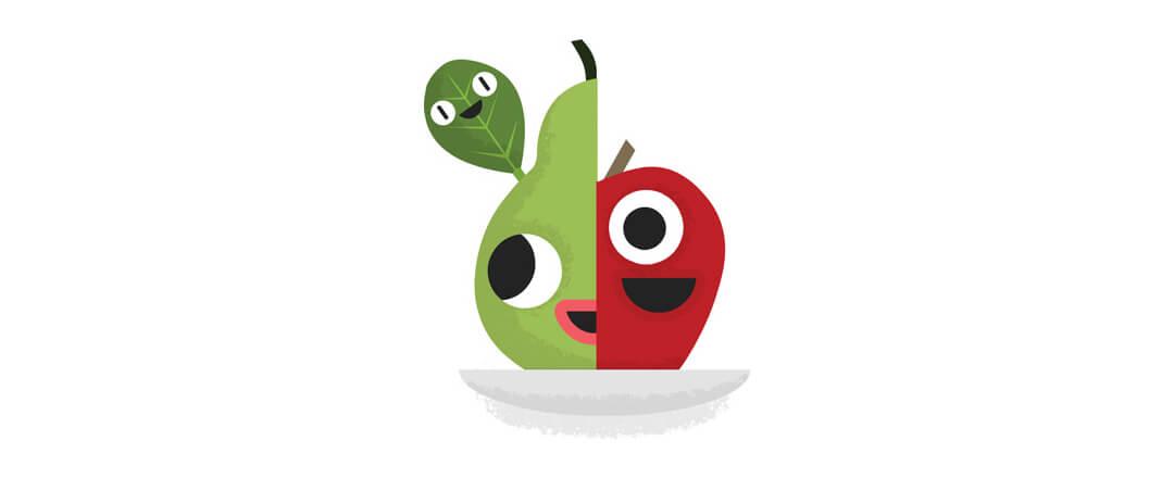 Half pear, Half apple, one spinach leaf