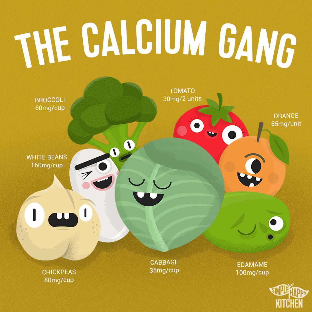 Characters of vegan calcium sources