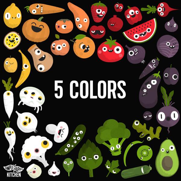Five colors of food
