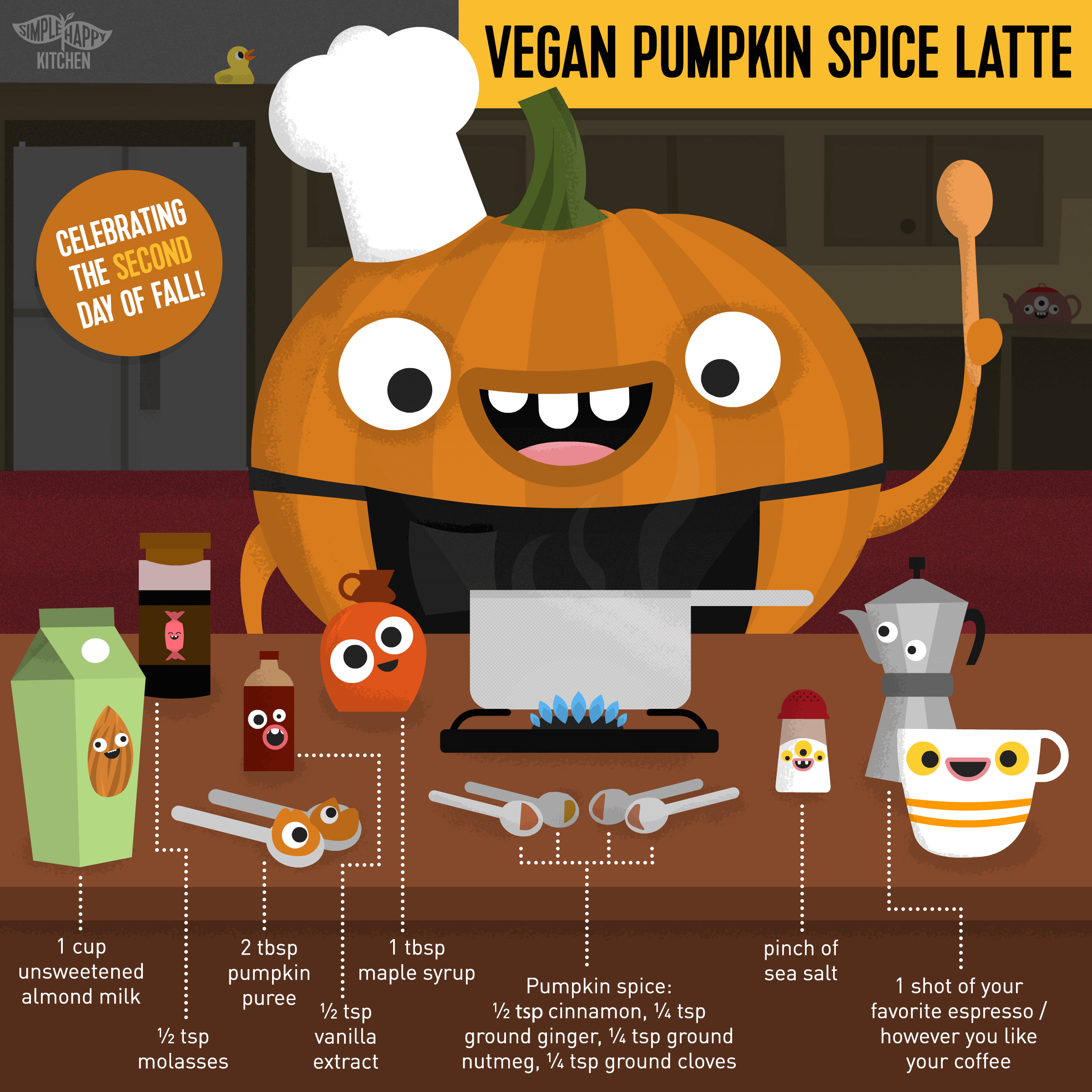 It's the second day of fall! Let's all have some vegan pumpkin spice latte