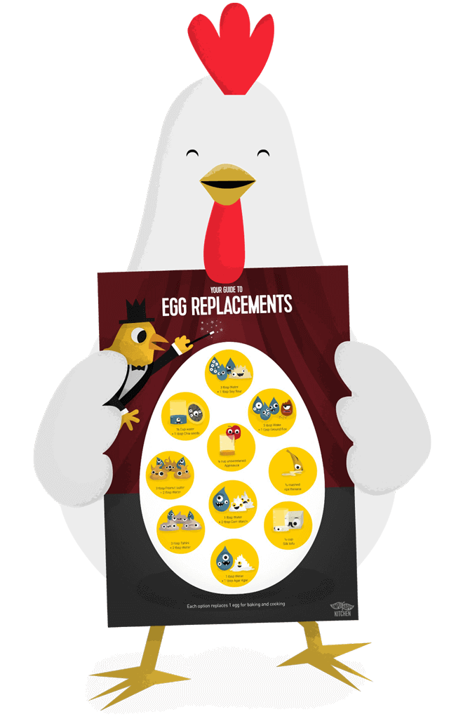 Happy chicken holding a poster with vegan egg replacements