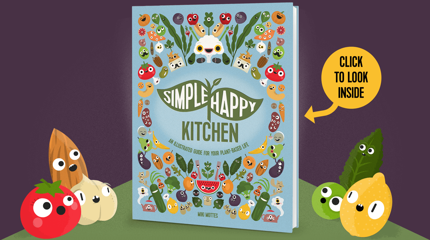 Creatures looking at the Simple Happy Kitchen English book
