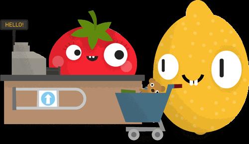 Tomato cashier sells stuff to Mr. Lemon