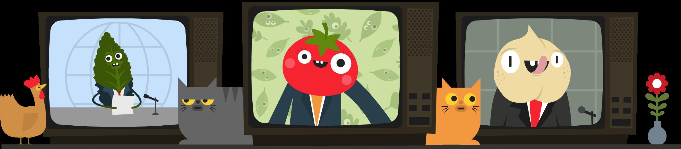 TV reporters - Kale, Tomato, Chickpea