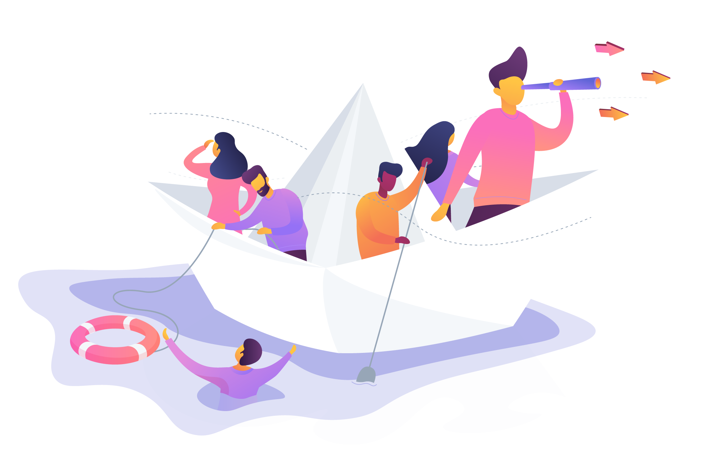 An illustration showing a group of people on a paper boat. One person holding a looking glass while looking off into the distance. Another is rope connected to a lifesaver that is in the water next to a third person in the water. They seem to be working together to navigate the boat.