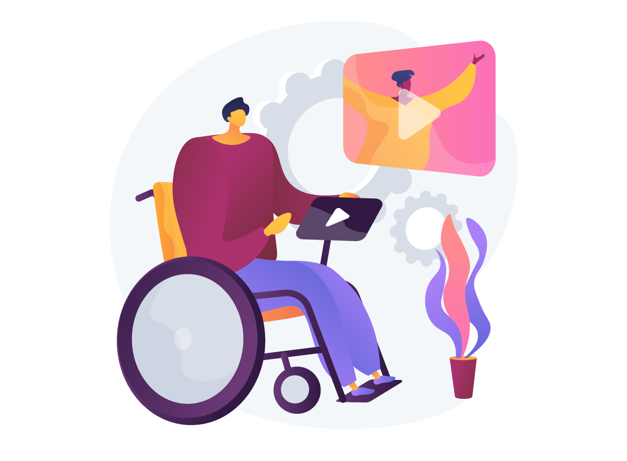 An illustration of a man sitting in a wheelchair while interacting with a technology.