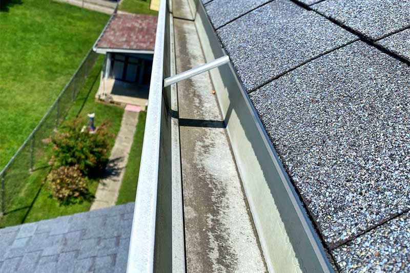 Gutters after being cleaned in North Pittsburgh