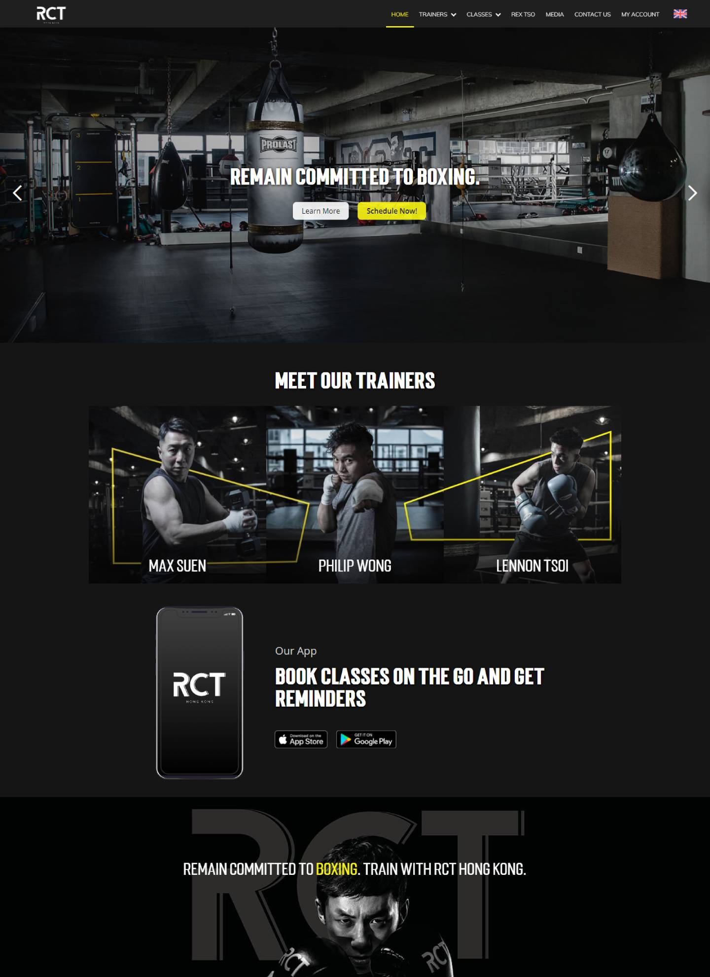 Screenshot of rct.com.hk, homepage web design for Remain Committed to Boxing Hong Kong.