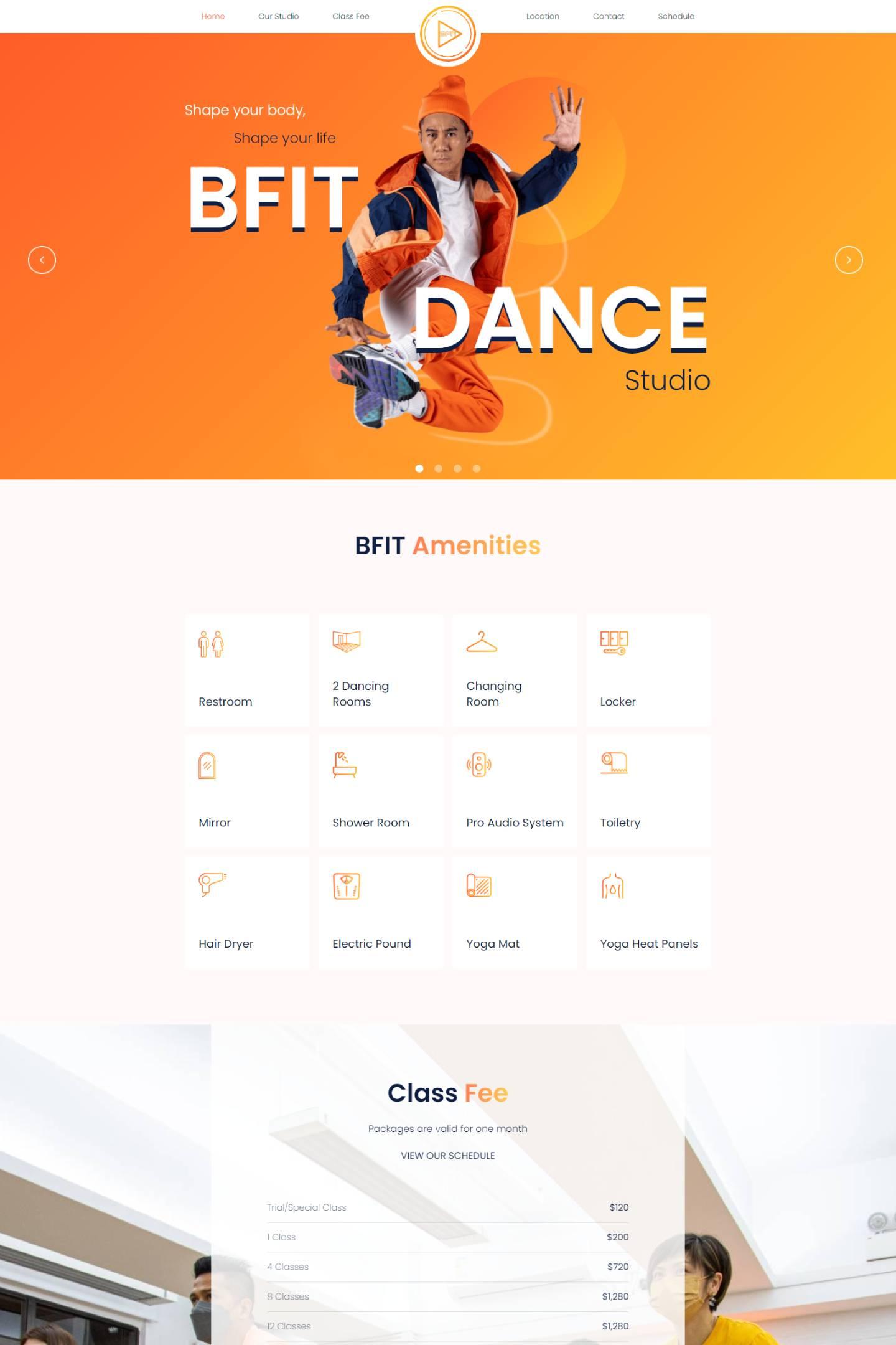 Screenshot of homepage web design for BFit dance studio Hong Kong