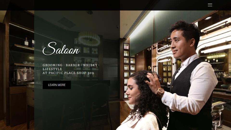 Screenshot of homepage web design website for Saloon Pacific Place, an extravegant Hong Kong salon