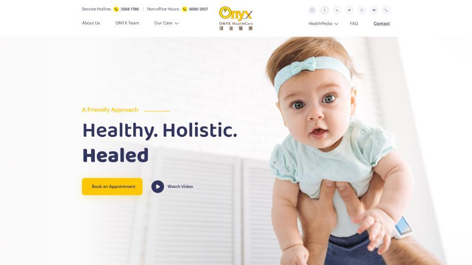 Screenshot of homepage web design website for ONYX Healthcare, a Hong Kong health clinic