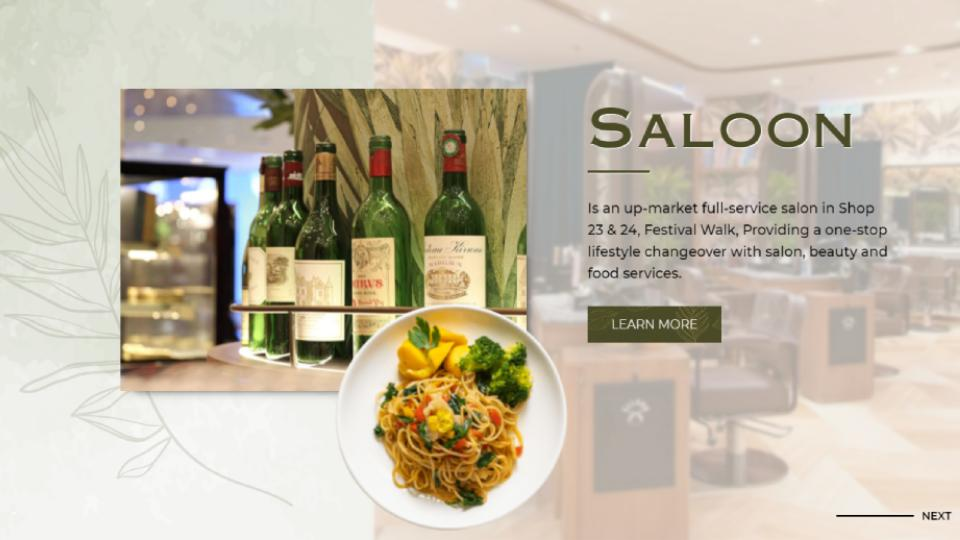 Screenshot of homepage web design website for Saloon Festival Walk, a Hong Kong salon with snack and drinks service