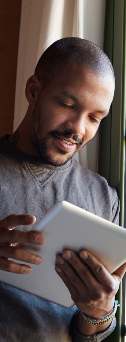 Someone looking at results on  a tablet