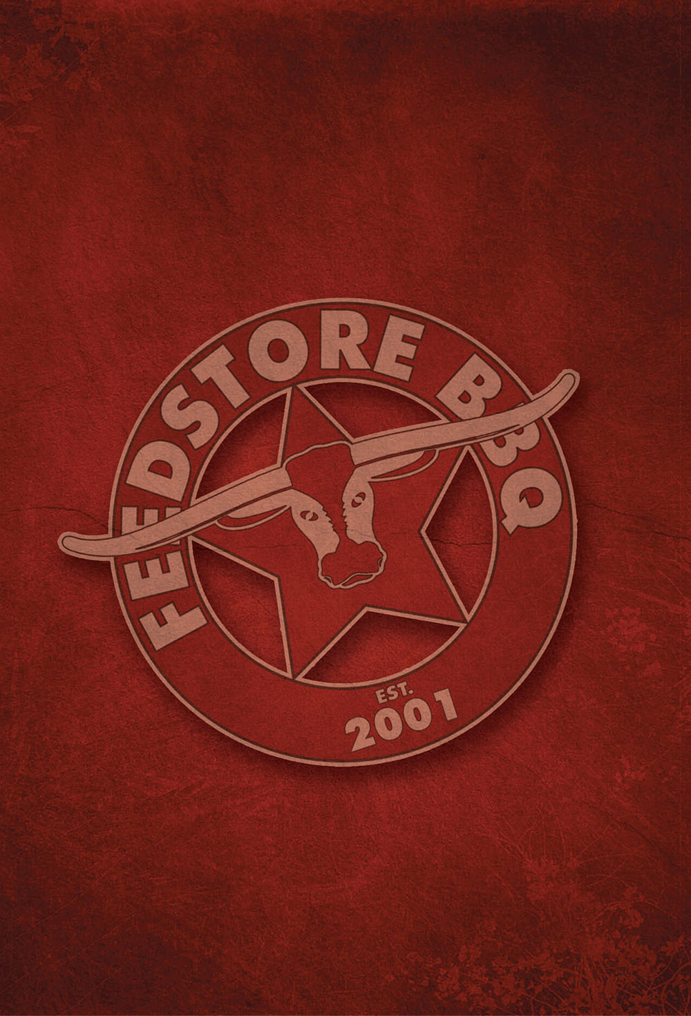 A background image in red with embossed Feedstore logo