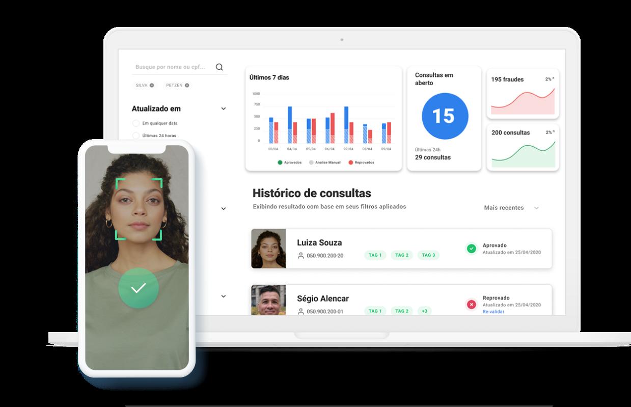 tela de computador com a interface dos produtos da combate à fraude e uma tela de celular com uma face fazendo reconhecimento facial