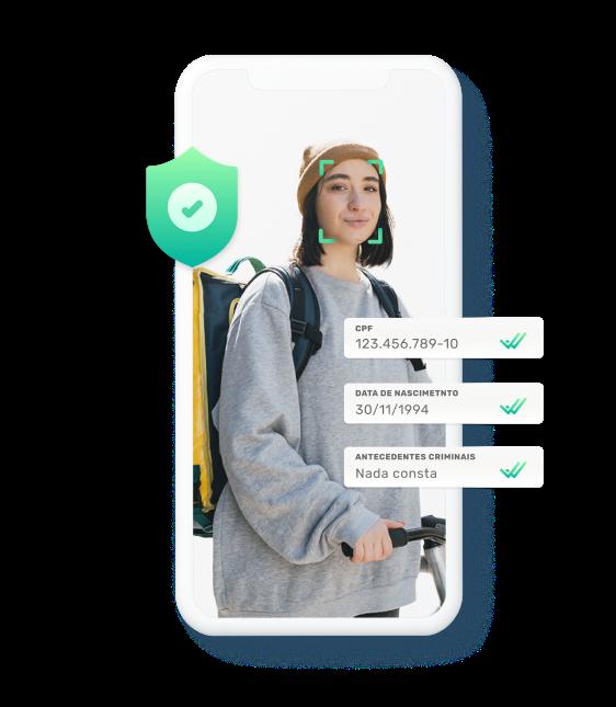 Tela de celular com uma foto de uma entregadora dentro e do lado de fora informações dessa entregadora