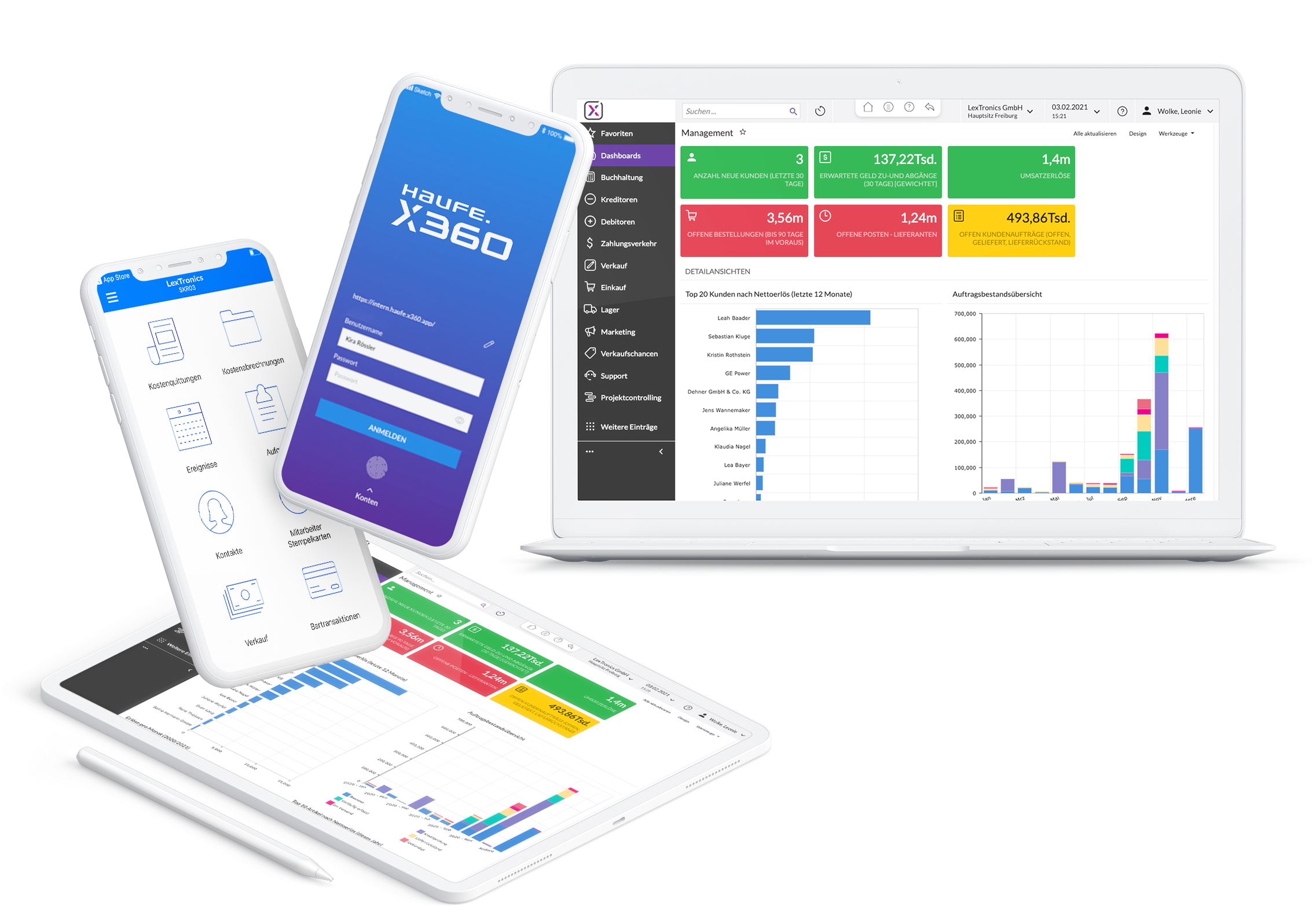 Haufe X360 Interface auf Smartphone, Tablet und Laptop