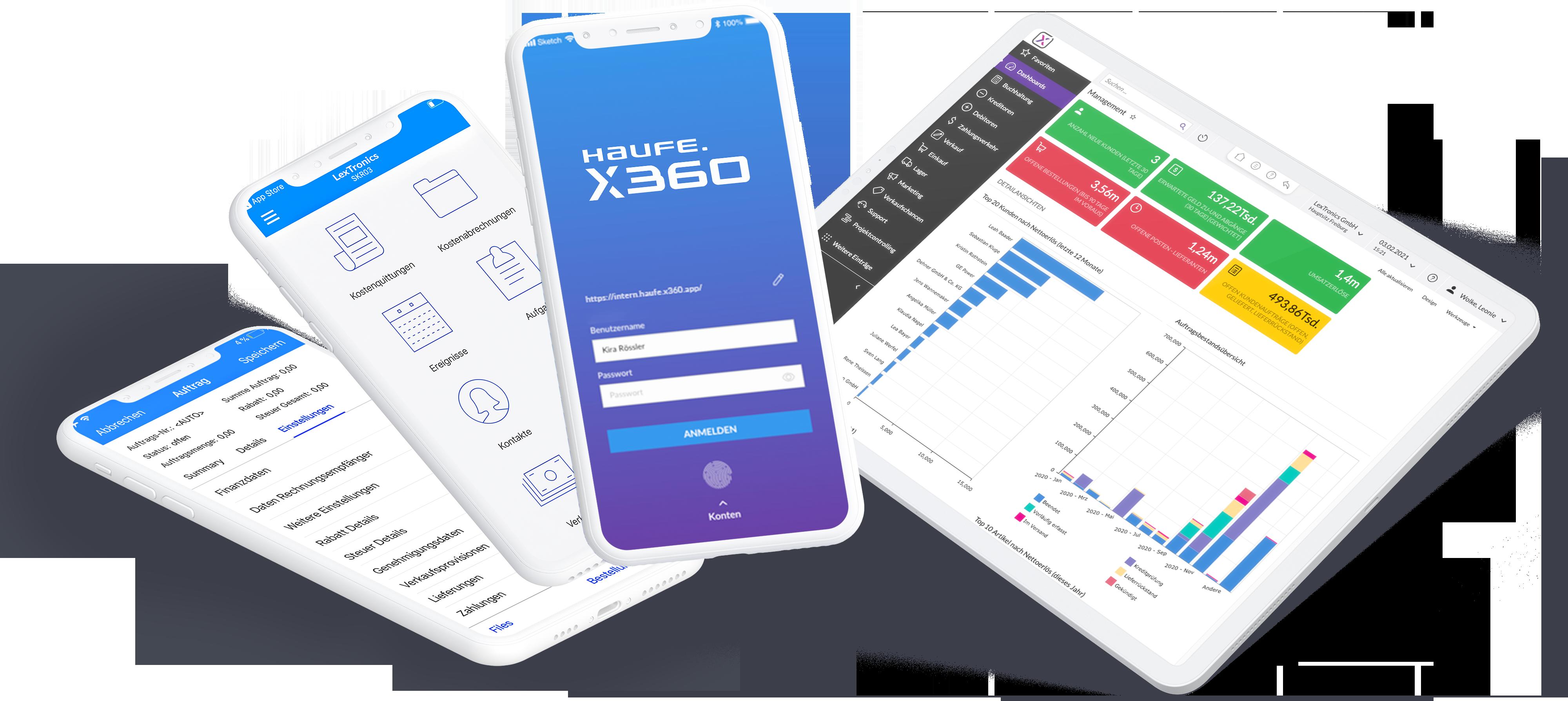 Haufe X360 Warenwirtschaftssystem Bildschirme Mobil